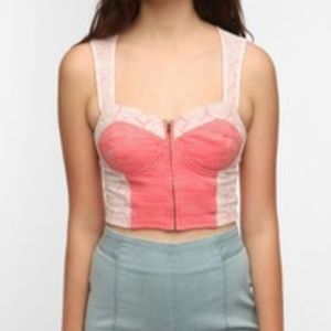 UO Pins and Needles zip front bustier